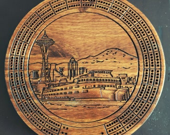 PNW Seattle Cribbage Board With Pegs