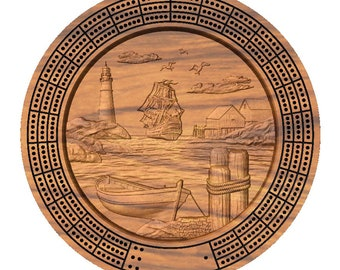 Lighthouse and Tall Ship Cribbage Board with Pegs