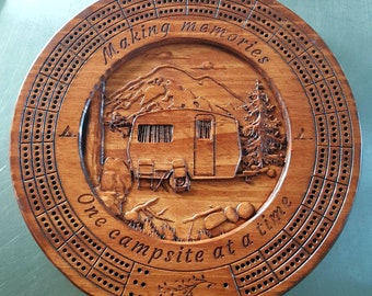Camping Cribbage Board With Pegs - 3D Relief