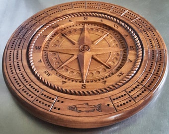 Classic Compass  Rose Cribbage Board With Pegs - 3D Relief