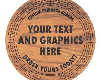 "Custom Carved 12""  Round Cribbage Board"