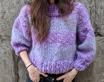 Mixed Media Sweater Knitting PATTERN (*NOT a physical product)