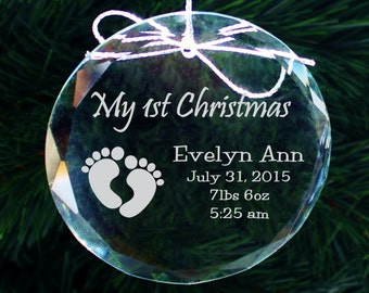 SHIPS FAST, Babys First Christmas Ornament, Baby's First Christmas Ornament, First Christmas Ornament Baby, Personalized Ornaments, COR005