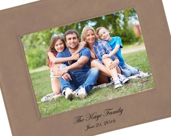 SHIPS FAST, Personalized Family Photo Frame, Engraved Vegan Leather Picture Frame, Custom Leatherette Frame in Color Choices - FVL05