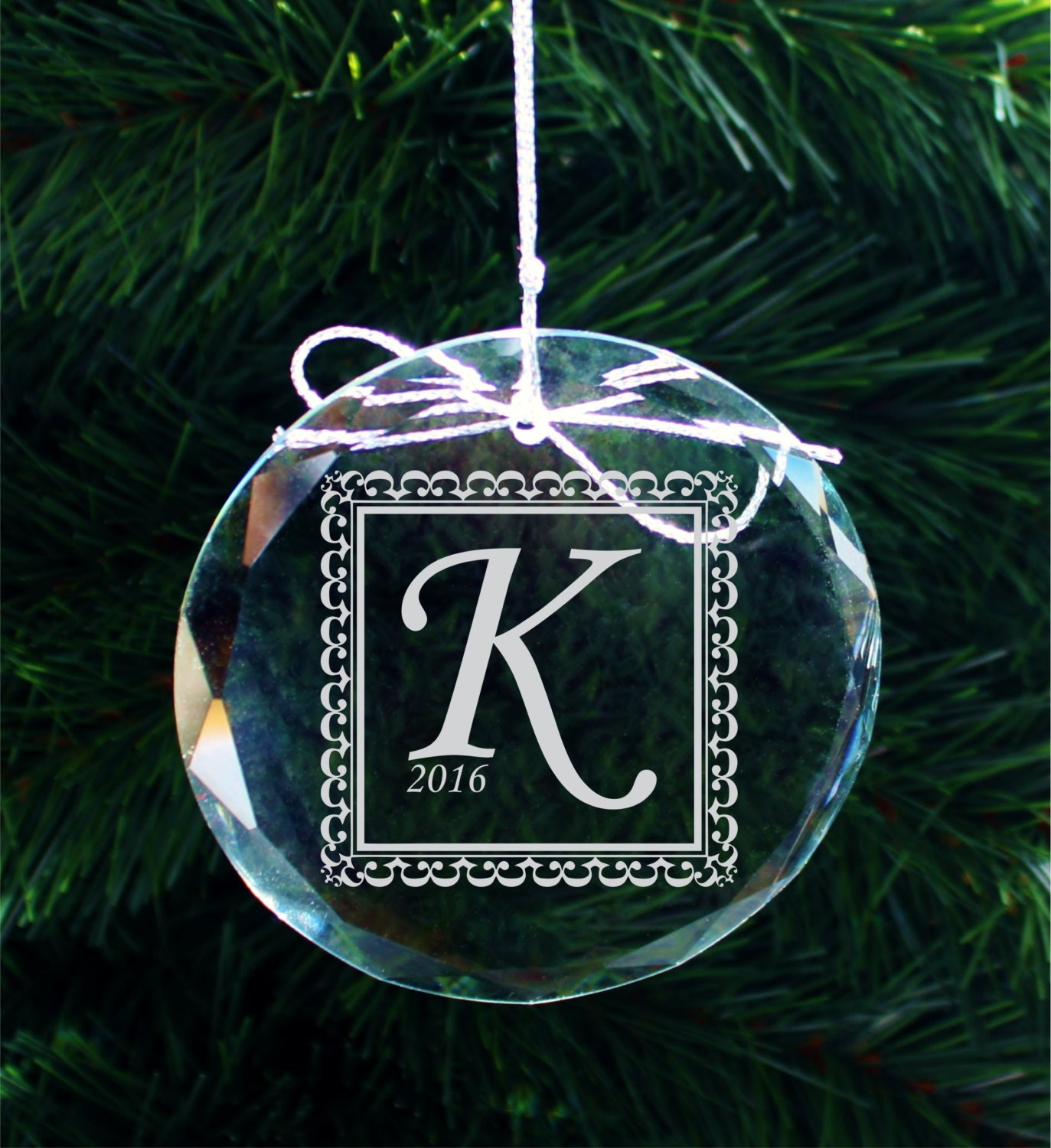 SHIPS FAST Engraved Crystal Initial Ornament Personalized ...
