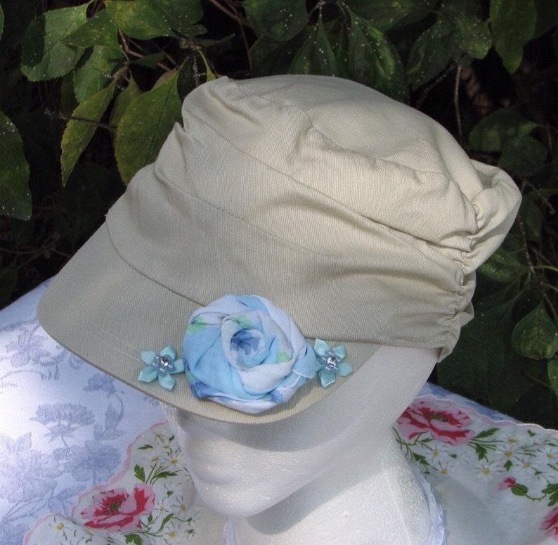 Refashioned Ladies Cottage Chic Khaki Cadet Hat