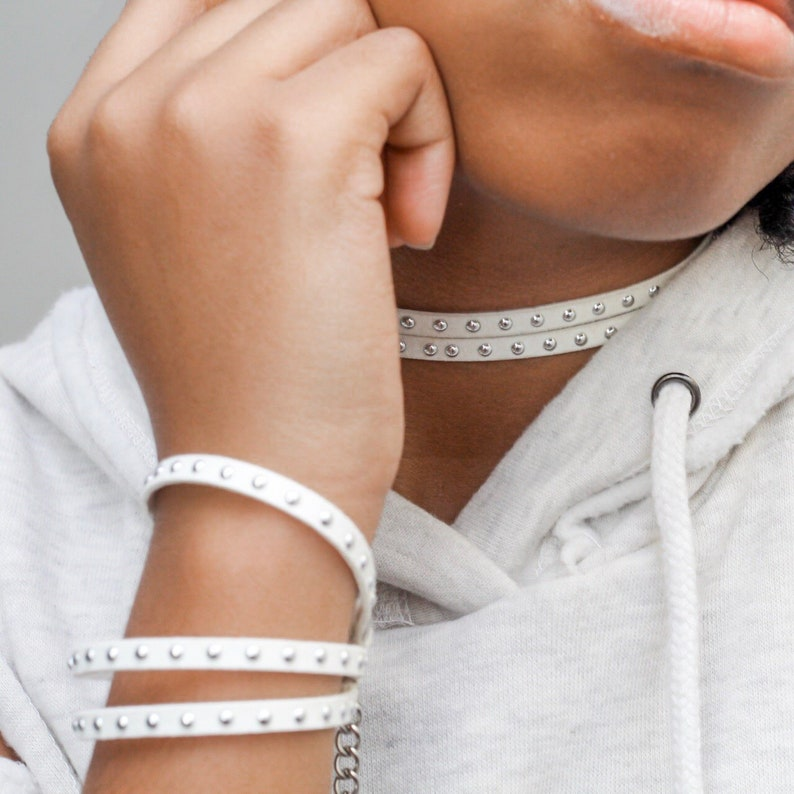 Studded Faux Leather Choker Black or White