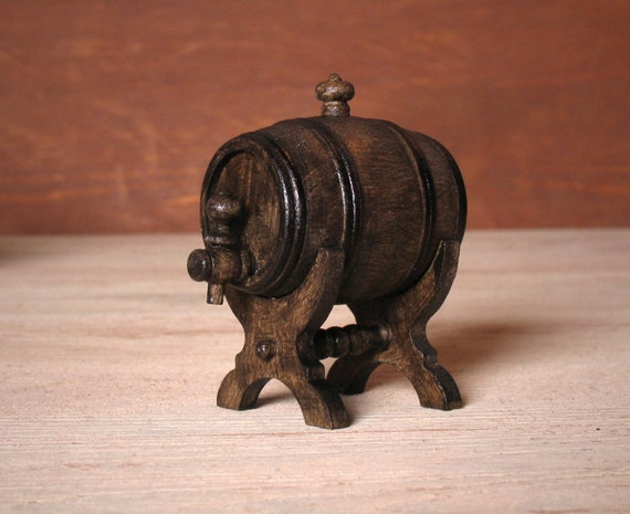 Handcrafted Dollhouse Miniature Keg with Fancy Spigot