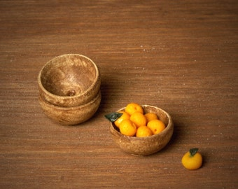 Miniature Wooden Bowl Chestnut for Your Dollhouse