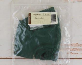 Longaberger Basket Fabric Liner Thank You - Ivy Green