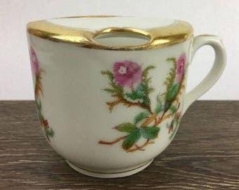 Vintage Mustache Coffee Mug Shaving Mug Floral Gold Rim