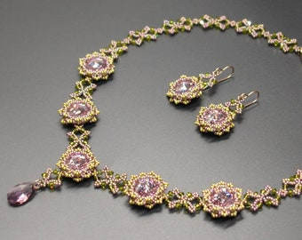 Necklace & Earrings Beading Pattern - Beading TUTORIAL - Jardin de Fleurs Necklace and matching Earrings