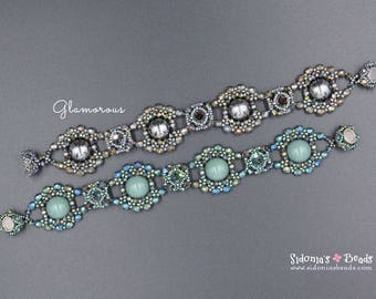 Glamorous Bracelet - Czech Dome Beads Tutorial - Beading Pattern - Beaded Bracelet - Bracelet Pattern - Digital Download