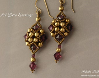 Beaded Earrings Tutorial - Art Deco Style Earrings - Beading Pattern - Digital Download
