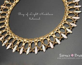 Beading Tutorial - Beaded Necklace Pattern - Tila Beads Tutorial - Dagger Beads Necklace Pattern - Ray Of Light Necklace - PDF pattern