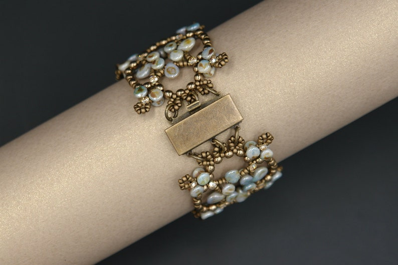 Pellet and Pip Beads Bracelet Tutorial Beading Pattern Catherine/'s Windows Bracelet Digital Download PDF Pattern