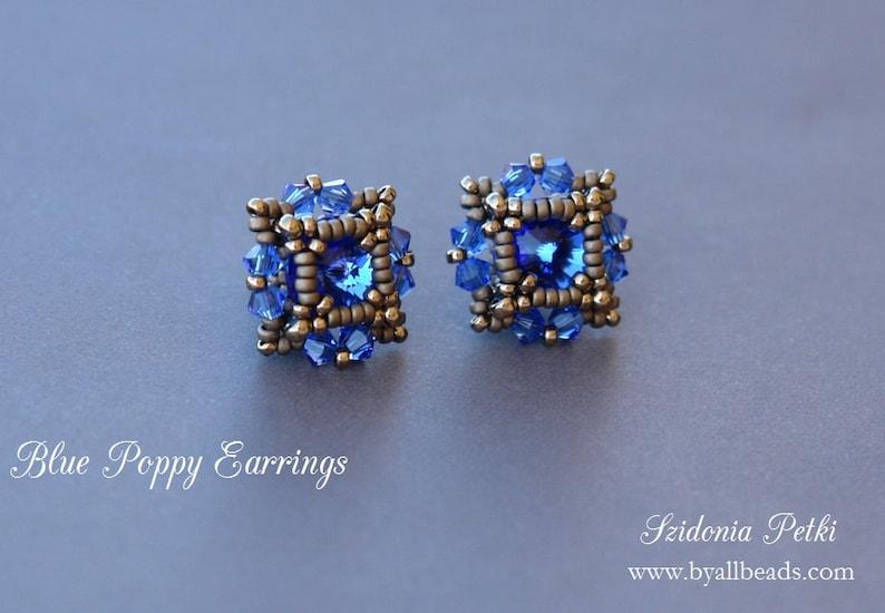 Beaded Post Earrings Tutorial  Crystal Stud Earrings  8mm image 0