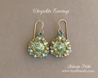 Rivoli Bezel Earrings Tutorial - Half Tila Chrysolite Earrings - Half Tila Pattern - Digital Download