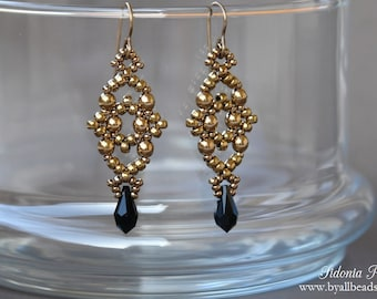 Beaded Earrings Tutorial - PDF Beading Pattern - Beading Tutorial - Losange Earrings