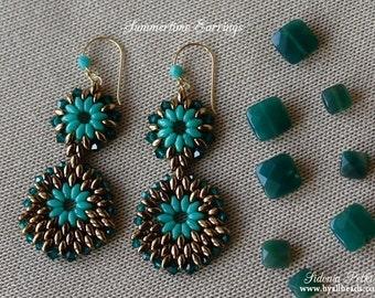 Beaded Earrings Tutorial - Summertime Earrings - Superduo Earrings Pattern - PDF pattern