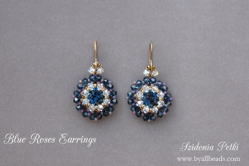 09154fe22 Beaded Earrings Tutorial Blue Roses Earrings 8mm Beaded | Etsy