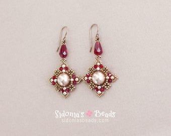 Beaded Earrings Tutorial - Oriental Style Earrings - Swarovski Crystal and Pearls Earrings - Earrings Pattern - Digital Download