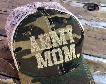94b3dd9aaee ARMY MOM Distressed Snapback Hat