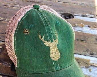 ONE LEFT! Oh Deer! Distressed Snapback Hat, Hunting Hat, Fun Deer Cap, Hat
