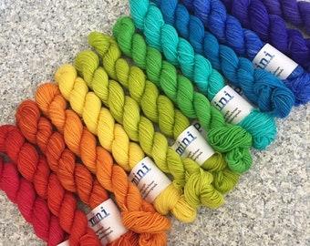 Set of five 20g mini skeins in green grey and pink merino wool knitting yarn yellow