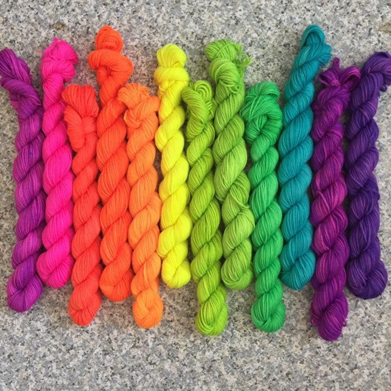 Neon Yarn Sock Yarn Mini Skein Sock Yarn Indie Dyed Sock image 0