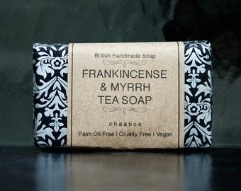 Vegan Natural Soap FRANKINCENSE & MYRRH Tea Soap Palm oil free Handmade by chaaboo
