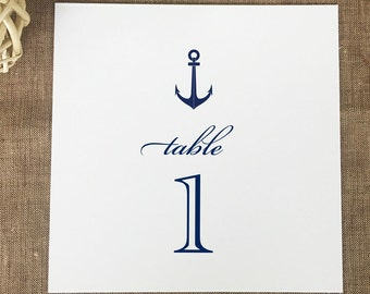 Anchor Table Numbers, Nautical Wedding Table Numbers, Printed Table Numbers, Navy Anchor Table Cards, Reception Table Numbers