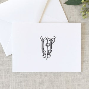 2 Letter Monogram Note Cards HH Interlocking Monogram Folded Note Cards Wedding Stationery Monogrammed Wedding Thank You Cards