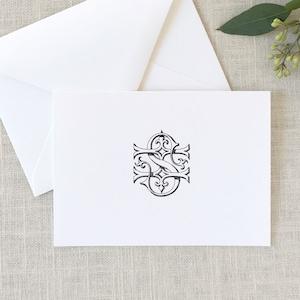 Monogrammed Wedding Thank You Cards Wedding Stationery 2 Letter Monogram Note Cards SP Interlocking Monogram Folded Note Cards