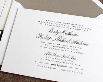 Formal Wedding Invitations, Classic Wedding Invitations, Black Tie Wedding Invitations, Grove Park Wedding Invitation