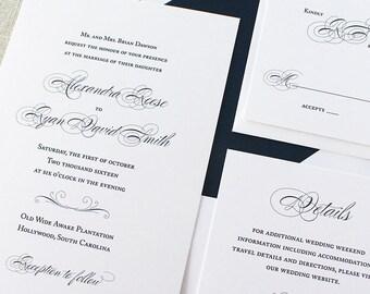 Classic Script Wedding Invitations, Navy Wedding Invitation, Formal Wedding Invitation, Black Tie Invitations, Classic Script Invitations