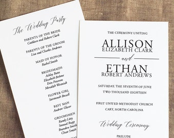 Contemporary Wedding Ceremony Program, Simple Wedding Programs, Order of Service, Panel Style Wedding Ceremony Program, Formal Wedding