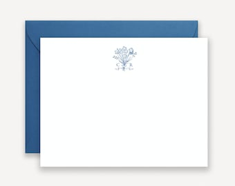 Vintage Bouquet Monogram Thank You Notes, Personalized Stationery, Navy Blue Personalized Note Cards, Stationary