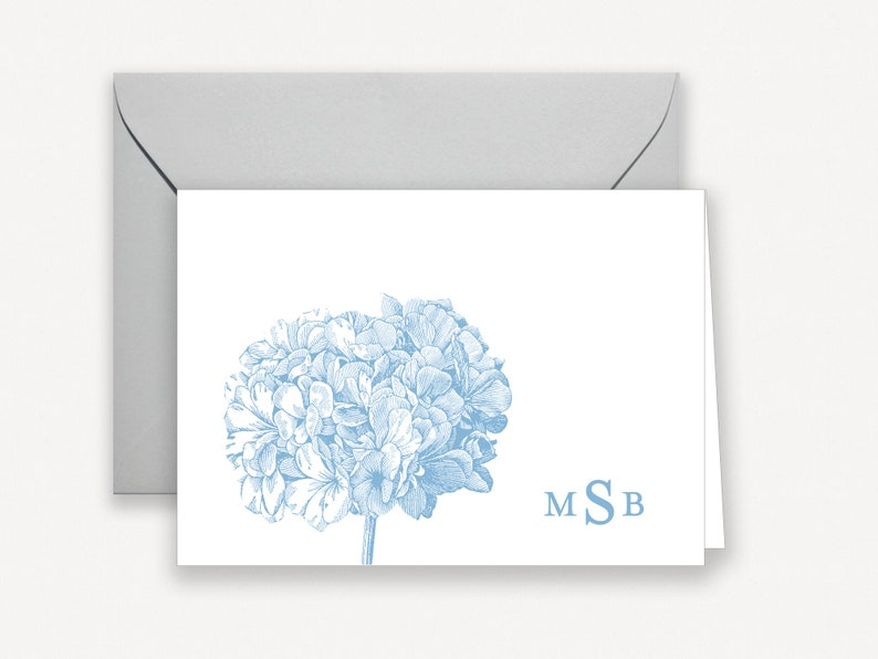 Hydrangea Stationary Personalized Stationery for Women Note image 0