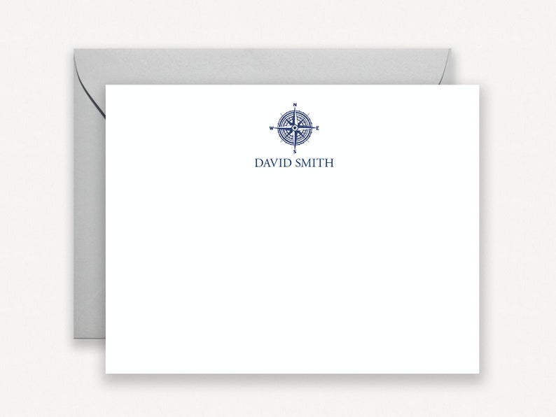 Travel Compass Note Cards Personalized Stationery for Men image 0