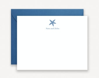 Starfish Note Cards, Personalized Stationery, Personalized Note Cards, Beach Stationary, Beach House Stationary, Gift for Couples