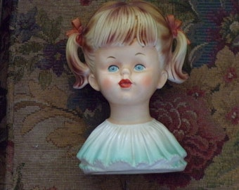 Vintage Head Vase Child with Ponytails Blue Dress Perfect for a Nursery