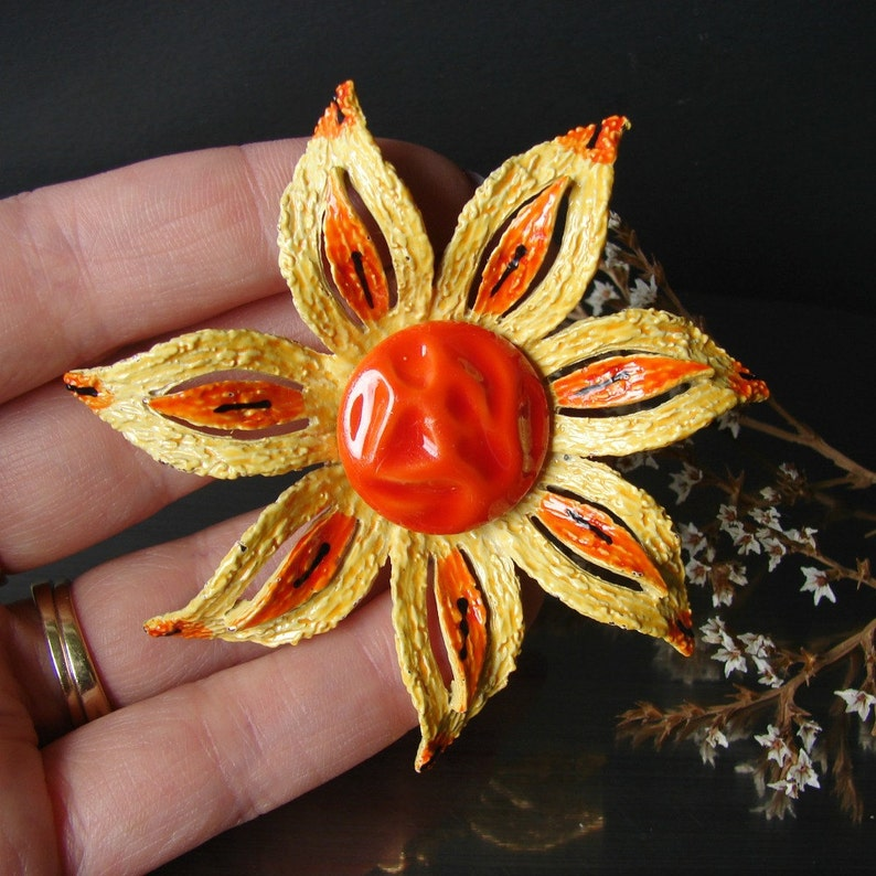 Yellow orange jewelry Brooch earring set Large flower brooch Floral clip earrings Signed ART jewelry Statement brooch Easter jewelry gift