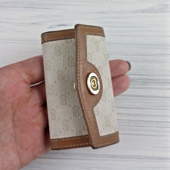 Vintage Gucci key holder Leather key pouch Gucci monogram women key wallet