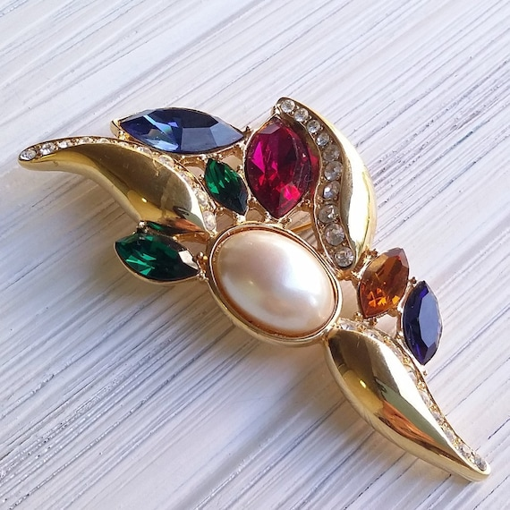 Colorful Monet brooch Multi stone brooch Christmas