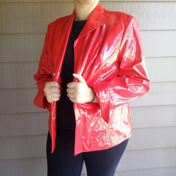 Vinyl raincoat for women Size 1X Pamela McCoy red