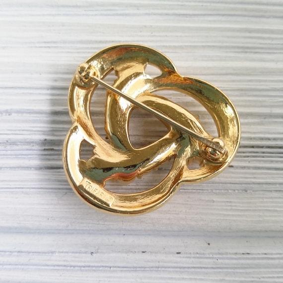 Trifari pearl brooch Vintage round pearl brooch C… - image 3
