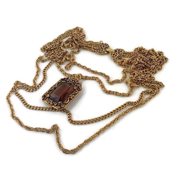 Vintage multi chain necklace Long Goldette necklac
