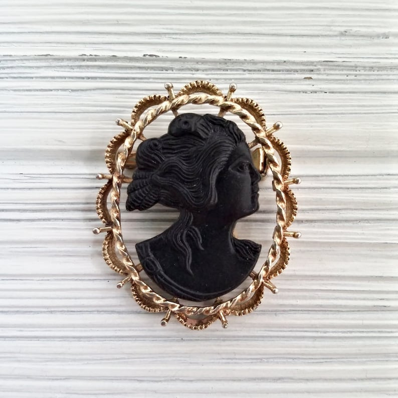 Black Cameo made with Swarovski Crystal Victorian Style Oval Pin Brooch Xmas New