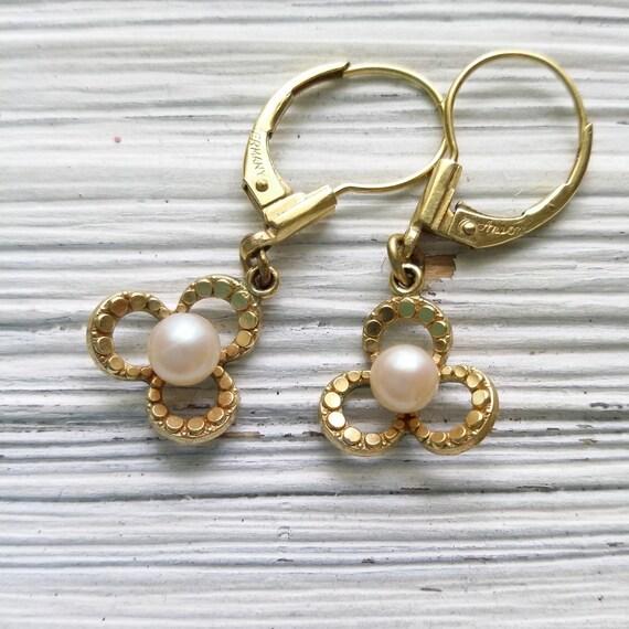 Vintage 14K pearl earrings Anson Germany pearl flo